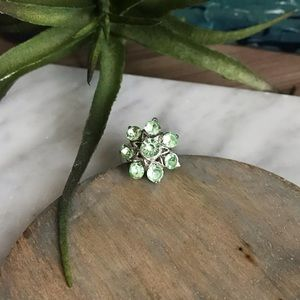 Silver & Green Adjustable Rhinestone Flower Ring